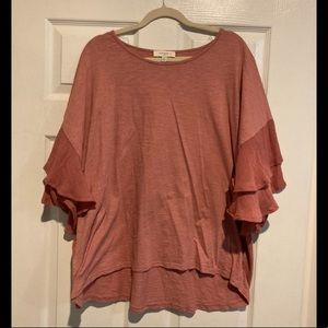 Umgee - Coral Blouse with Ruffle Sleeves 2XL